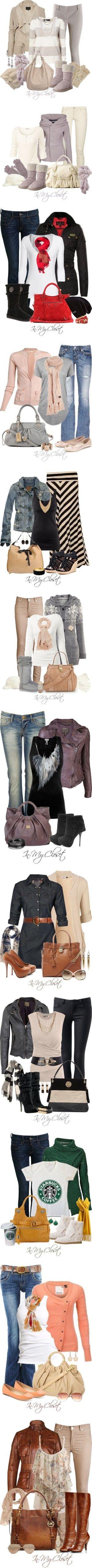 el q mas me gusta es el 5to look, con falda rayada campera de jean musc negra, divino collar y bolso blanco c negro.