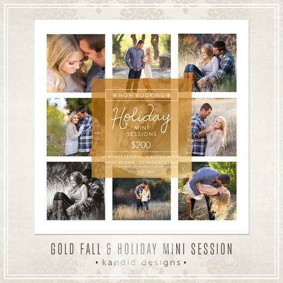 Holiday Mini Sessions template for photographers.  Photography marketing template $6