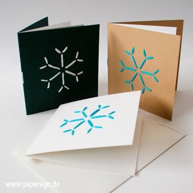 weihnachtskarte STITCH SNOWFLAKE°stickmotiv wolle - weihnachtskarten von papersign - Weihnachtskarten - Weihnachten - DaWanda