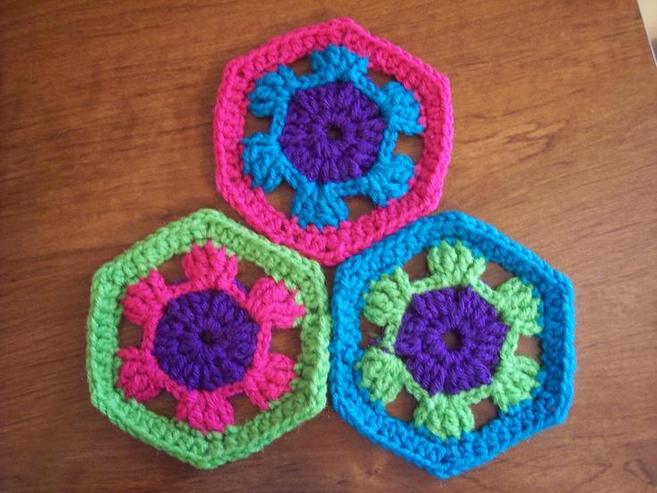 Octagon Baby Afghan Crochet Pattern : Hexagon Granny Square Crochet Blocks Pinterest