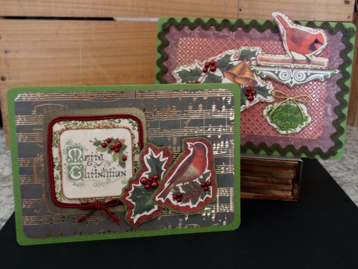 lovely christmas cards celebrating nature, song and metallic paper! I used kaisercraft christmas collectables. red, green, robin, cardinal, music, christmas, ribbon, metallics, holly, bells