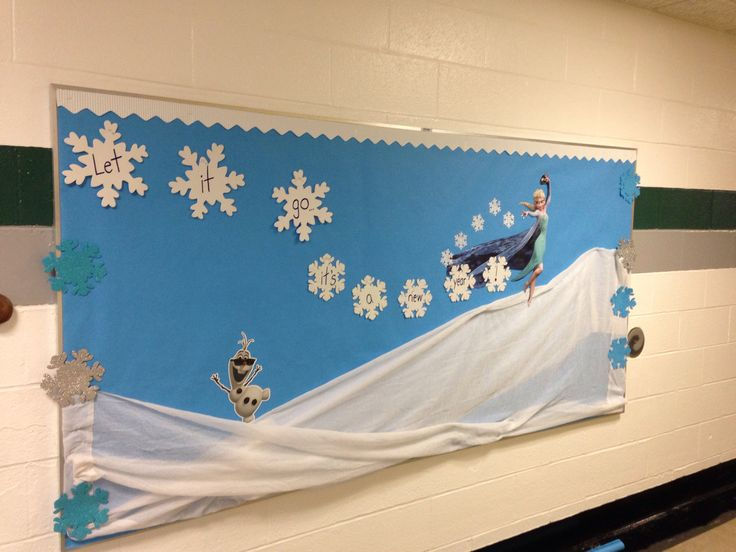 "Frozen bulletin board ""Let it go...it's a new year!"" Change to ""Let it snow, let it snow"" with Elsa for winter"