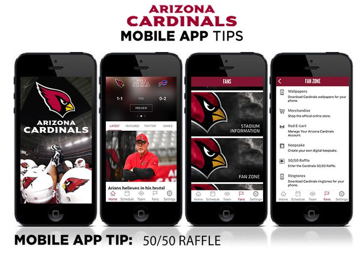 Mobile App Tip:  50/50 Raffle  Check the latest winning number or follow the total as it grows on gameday.  You can also view past draws.  Here's how: 1	Open your Cardinals Mobile App 2	Go to the FANS  at the bottom 3	Scroll up to click on the FAN ZONE tab 4	Click 50/50 Raffle