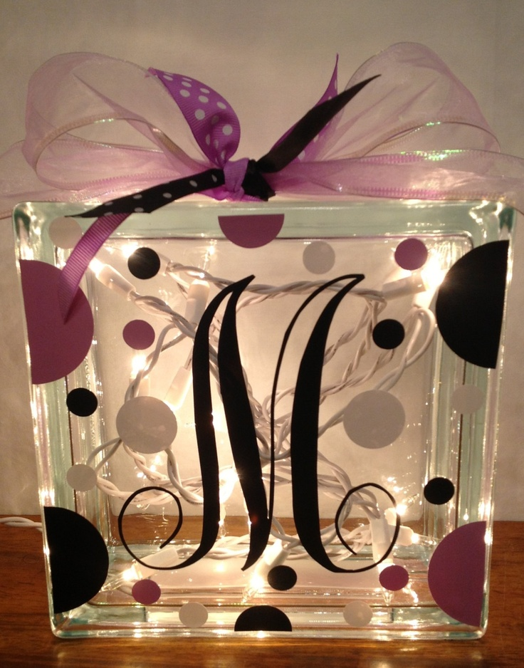 Customized LIGHTED GLASS BLOCK with Initial Polka by PamsPolkaDots