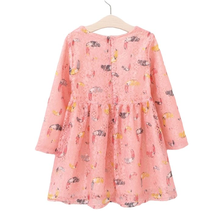 12.95$  Watch now - http://alisf9.shopchina.info/1/go.php?t=32783857777 - Kids Girls Lace Dress Parrot Graffiti Pattern Long Sleeve Pink Dress 2017 New Arrival Spring Autumn Cute Frock For 12M-12Y GD115  #aliexpress