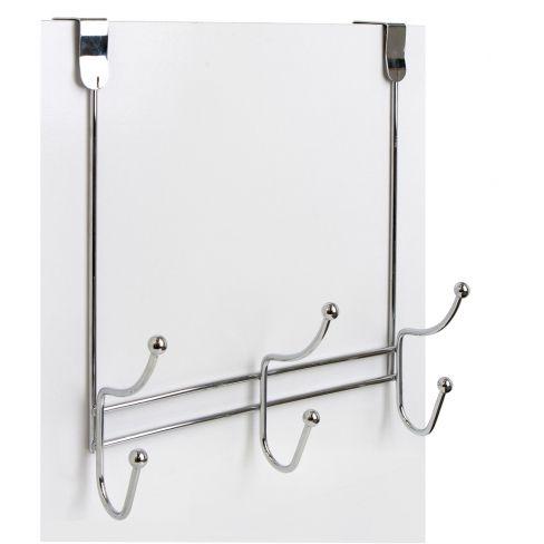 6 Hook Chrome Over Door Hanger
