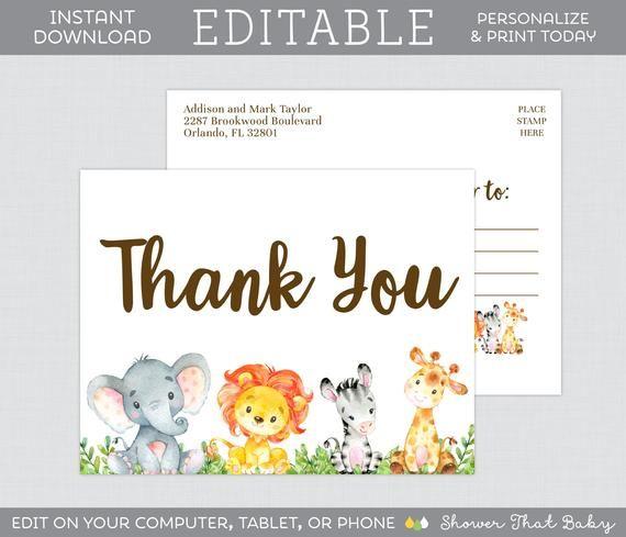 Editable Safari Thank You Postcards Printable Thank You Etsy Thank You Postcards Animal Baby Shower Theme Business Thank You Cards