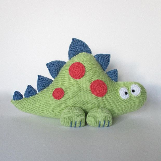 Toy knitting patterns: Clarence the Dinosaur by Amanda Berry, download on LoveKnitting