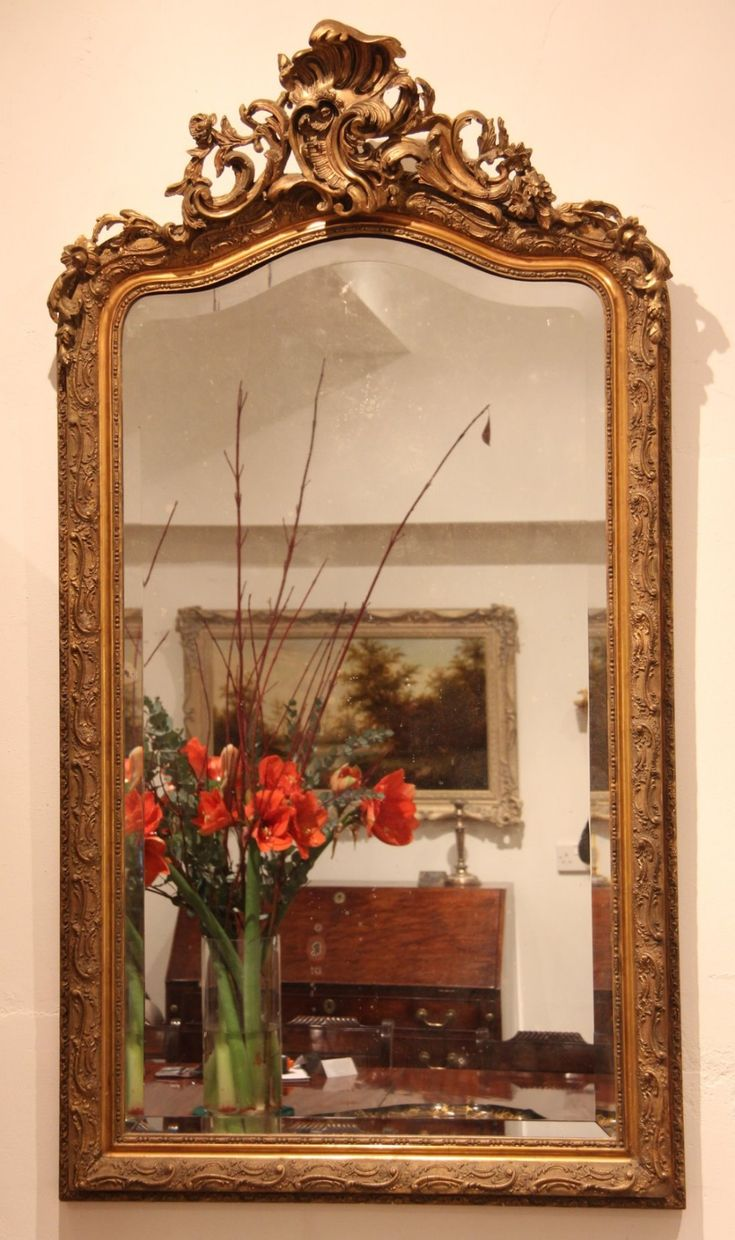 Victorian Rococo Style Giltwood and Gesso Mirror