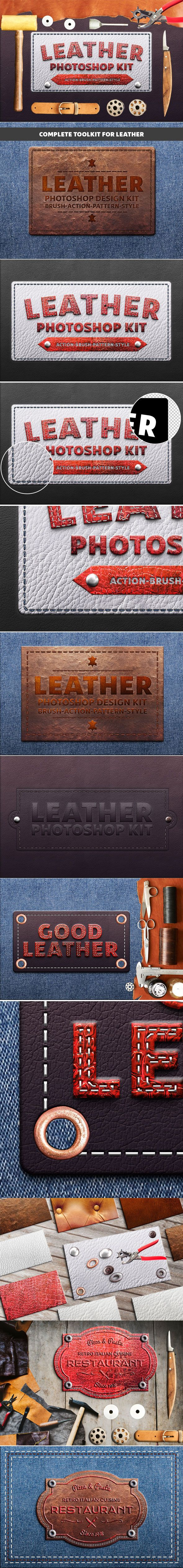 #Photoshop Leather Kit - Utilities #Actions #Generate realistic leather elements from your text, logo, shape or design in few clicks.
