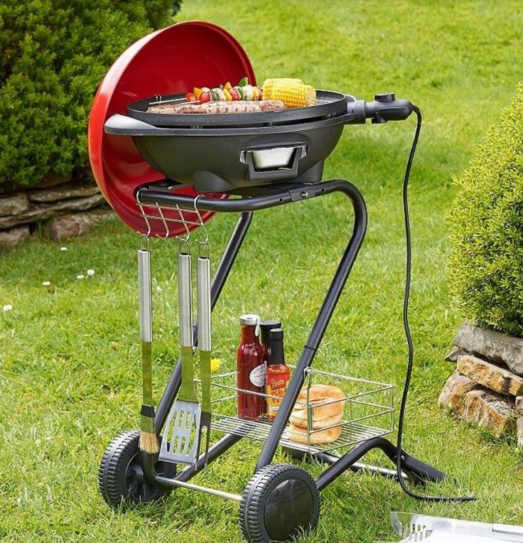 Red Electric BBQ Grill 1600W Indoor Outdoor Ribbed Griddle Temperature Control #VonShef