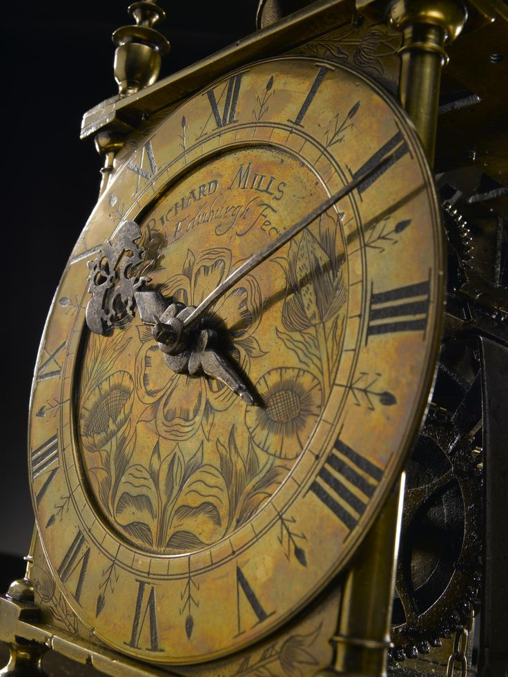 Tweleve hour lantern clock in brass and steel, signed on the upper part of the dial and lacking original frets on top of the frame, lacking doors at the side and original [verge] escapement, by Richard Mills, Edinburgh, late 17th century