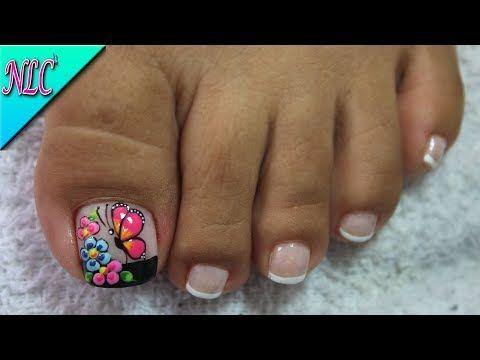 Decoracion De Unas Para Pies Mariposa Y Flores Flowers Nail Art