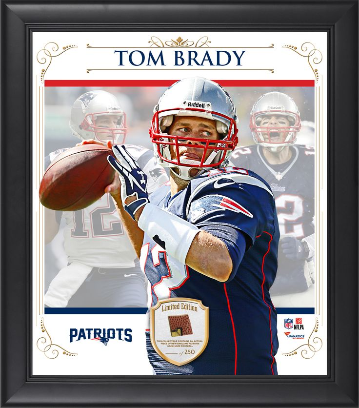 """Tom Brady New England Patriots Framed 15"""" x 17"""" Composite Collage with Piece of Game-Used Football"""