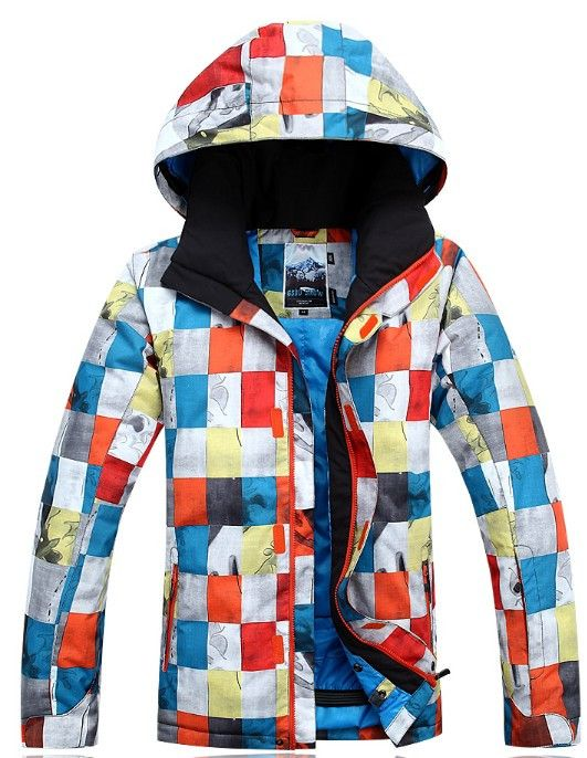 Men ski jacket color block snowboarding jacket f