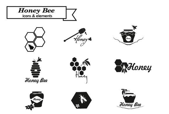 Honey logo and bages by Svetlana Voloshina on @creativemarket