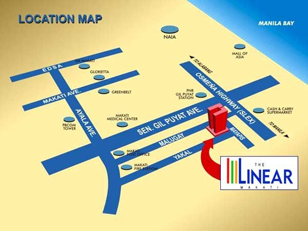 The-Linear-Makati-Location-MapAn opportunity to own your condo unit in the heart of Philippines' central business area at an affordable price. Designed to cater for ordinary Overseas Filipino Workers (OFWs) through our Filinvest International campaigns like Filinvestor Ako, Filinvest Buhay Panghanap-Buhay. Click this link to read more: http://globalfilinvestor.com/the-linear-makati/