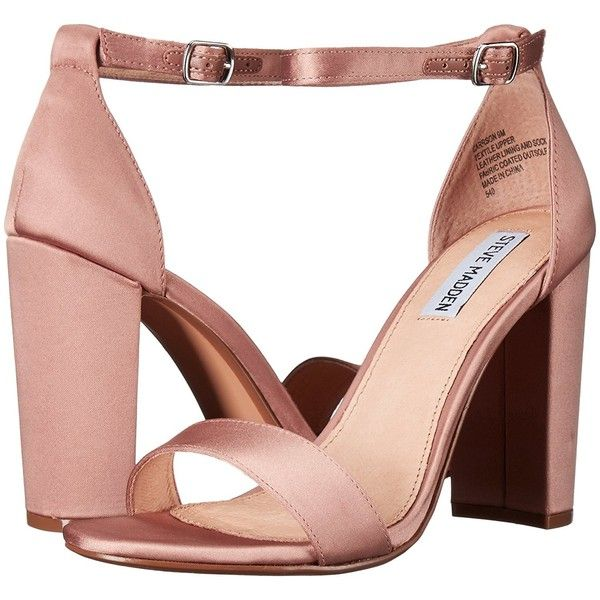 Steve Madden Women's Carrson Dress Sandal ($40) ❤ liked on Polyvore featuring shoes, sandals, wide sandals, satin shoes, steve madden, wide fit shoes and dress sandals shoes