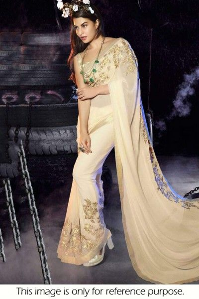 Bollywood Style Jacqueline Fernandez Georgette Saree In Off White Colour NC1752