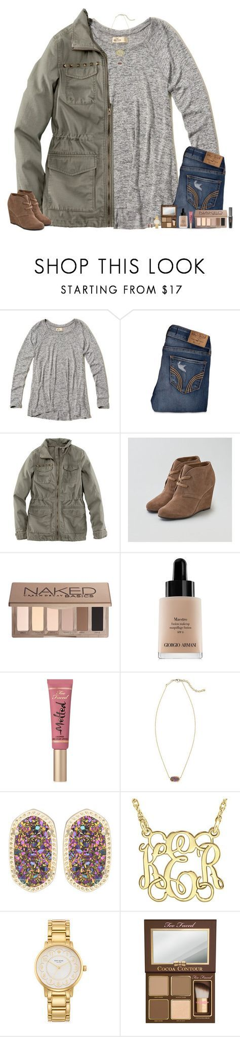 """I'm in pain."" by maggie-prep ❤ liked on Polyvore featuring Hollister Co., H&M, American Eagle Outfitters, Urban Decay, Giorgio Armani, Too Faced Cosmetics, Kendra Scott and Kate Spade"