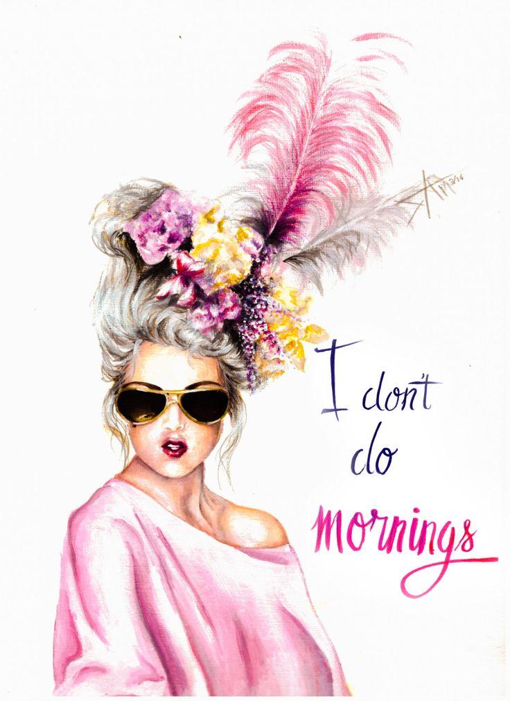 "original acrylic painting "" I don't do Mornings""  Marie Antoinette collection by artbysalmanasreldin on Etsy"