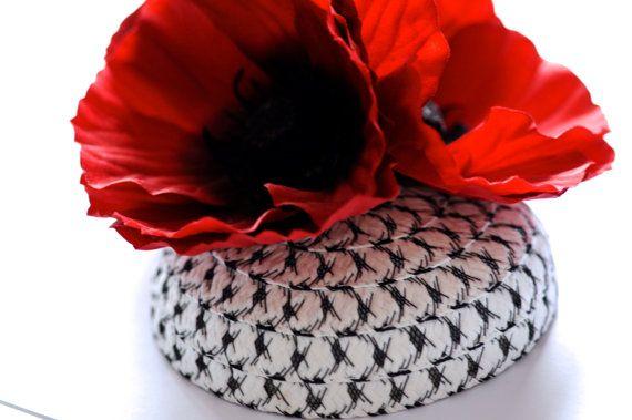 Poppy Trio Straw Cocktail Hat Flower by MaynardMillinery on Etsy