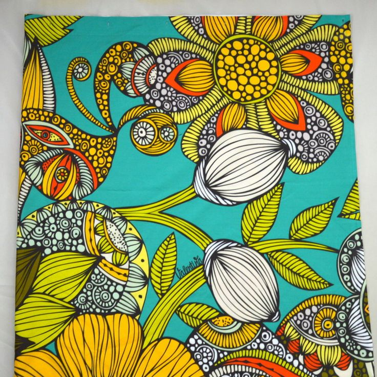 VALENTINA Tropical Turquoise Sea Shell Print Canvas Shower Curtain Panel 67 72