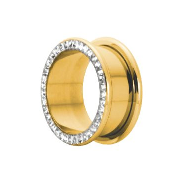 24K GOLD PVD CRYSTAL FLESH TUNNELS WITH GLOSS FINISH ROUND EDGES WITH 1/4'' (6mm) INSIDE LENGTH ONLY CRYSTAL COLOR AVAILABLE