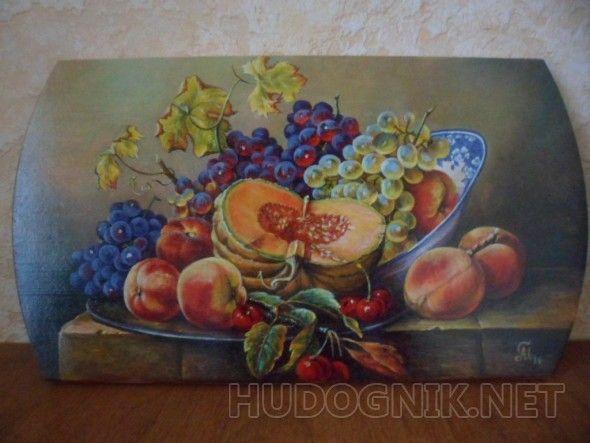 """Кухонная доска декоративная """"Натюрморт с тыквой"""" Это не просто кухонная доска. это настоящая картина на вашей кухне."""