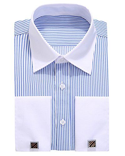 Alimens & Gentle French Cuff Regular Fit Dress Shirts (Cufflink Included)  Italy Design Contrast Collar French Cuff Dress Shirts;  Variety Styles Of Metal Cufflinks Send Randomly;  Produced By Soft Polyster & Cotton Blended Fabric Which Gives Most Comfortable Wear;  Left Pocket Design, Suitable For Working Wedding Party And Other Occasions;  Fits True to Size And Regular Fit Style Make You Feel Good and Conformtable When Wearing;
