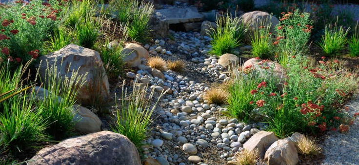 landscape dry streambed | Dry River Bed Ideas / Xeroscaping