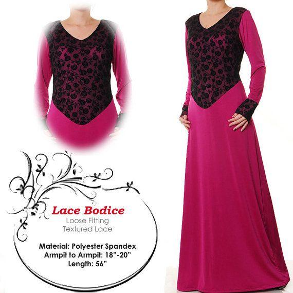 Lace Bodice Fashion Islamic Abaya Jubah Long Sleeves by MissMode21, $32.00