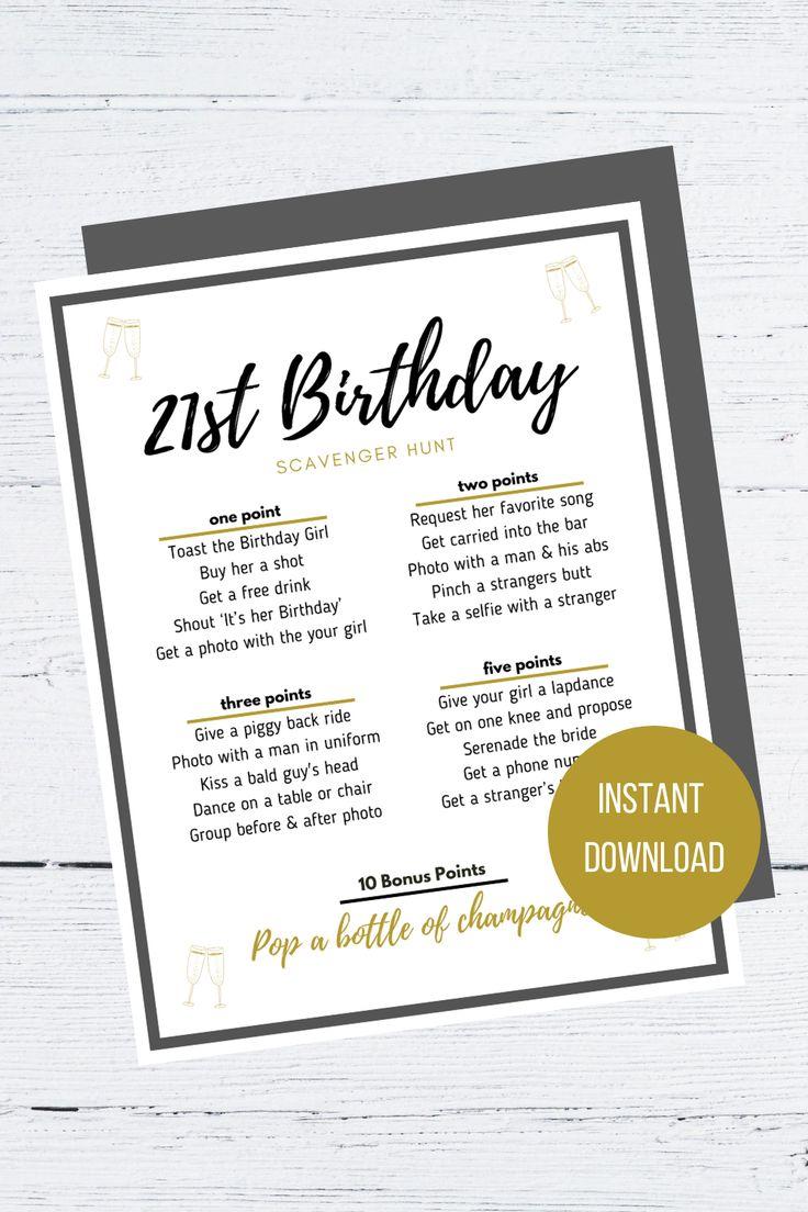 21st Birthday Scavenger Hunt Digital Printable Etsy in