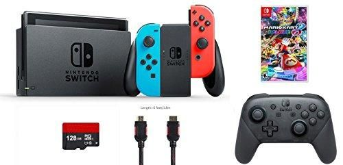 Nintendo Switch 6 items Bundle:Nintendo Switch 32GB Console Neon Red and Blue Joy-con,128GB Micro SD Card,Nintendo-Pro Wireless Controller,Mario Kart 8 Deluxe,Mytrix HDMI Cable and Wall Charger
