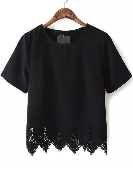 Black Short Sleeve Lace Hem Chiffon T-Shirt 13.50