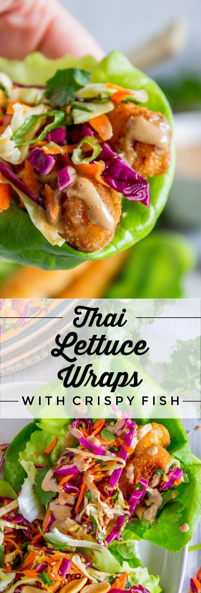 Thai Lettuce Wraps with Crispy Fish and Peanut Sau…