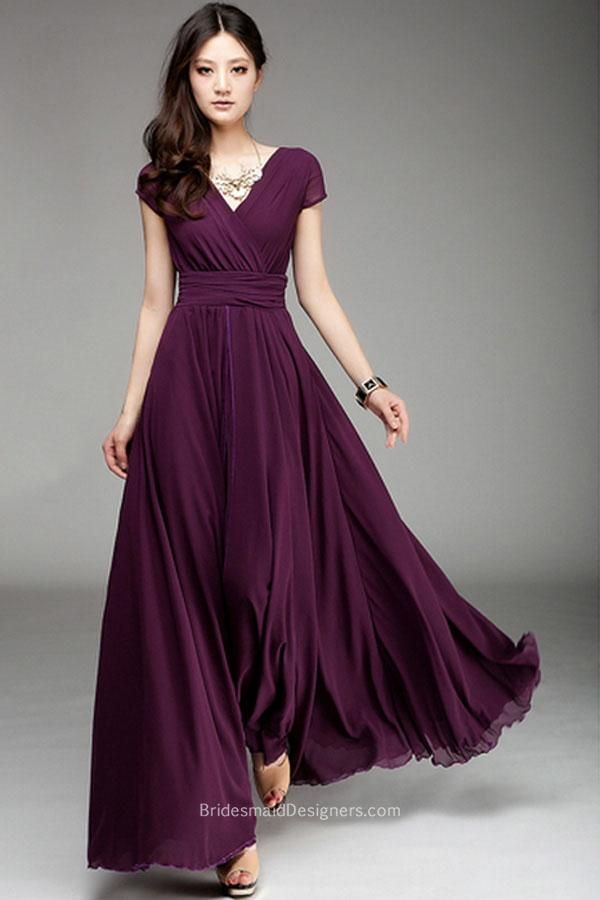 Deep Plum Long Chiffon bridesmaid dress features v neckline with short princess sleeves, long skirt flares from natural waistline, ruched band attached.