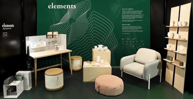 "ID for the 'ELEMENTS' exhibition at Tokyo Design Week 2016 / design by Grynasz Studio / 2016 / ""Elements"" an exhibition of Grynasz Studio designs presents the results of their collaboration with major European companies as well as manufactories and artisans.  The project is organized in cooperation with Culture.pl"