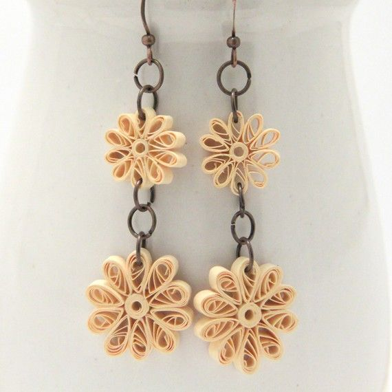 Quilled paper flower earrings