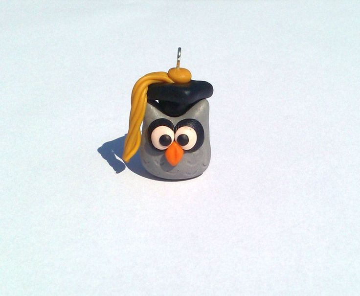 Diploma Owl Pendant Handmade Polymer Clay by MultiCrea on Etsy