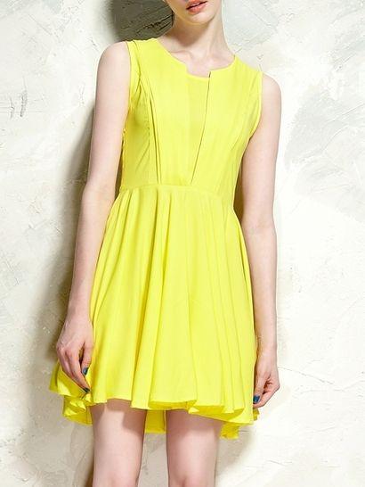 Elegancka żółta sukienka przed kolano / Cute Drape Dress In Yellow