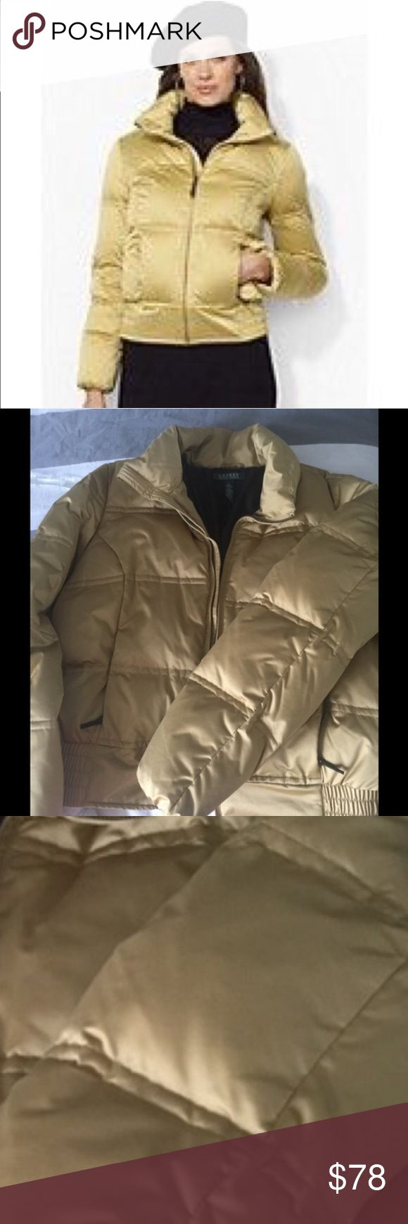 RALPH LAUREN Down Bomber Jacket NWOT This jacket is super warm and new with out tags. Gorgeous gold with elastic on the band of the waist/hip. Two exterior zippered pockets. Ralph Lauren Jackets & Coats Puffers
