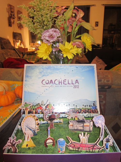 Coachella ticket box. Self assemble a diorama of the fields.