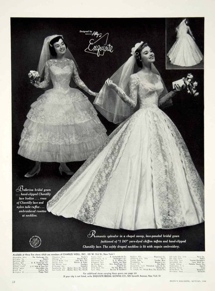 1956 Ad Vintage Exquisite Ballerina Bridal Gown Wedding Dress Chantilly Lace