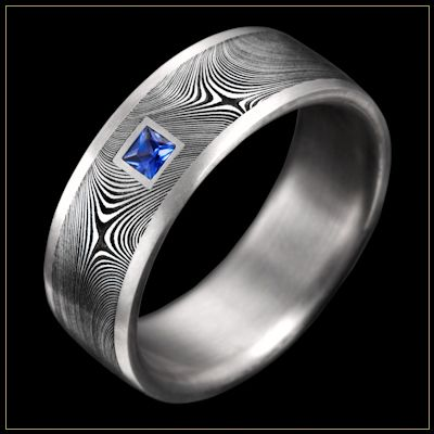 BOLD Damascus Steel Men's Wedding Ring with Starlight pattern, Stainless Steel Channel, and Flush Set Sapphire
