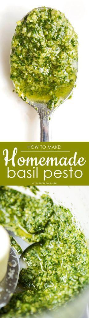 Homemade Basil Pesto - A simple recipe for traditional basil pesto with a secret ingredient that makes it so delicious! #basilpesto #pestogenovese #traditionalpesto | Littlespicejar.com