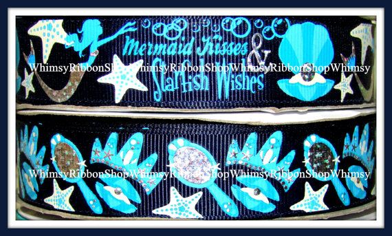 New 1 2 3 4 or 5 Yards Mermaid Kisses Star by WhimsyRibbonShop