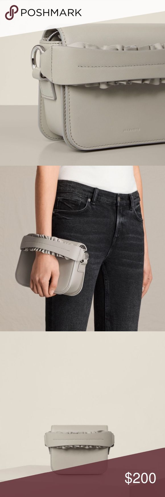 AllSaints Clutch bag NWT Color is light cement. Original price $278. Comes with dust bag. Also has a sliver chain All Saints Bags Clutches & Wristlets