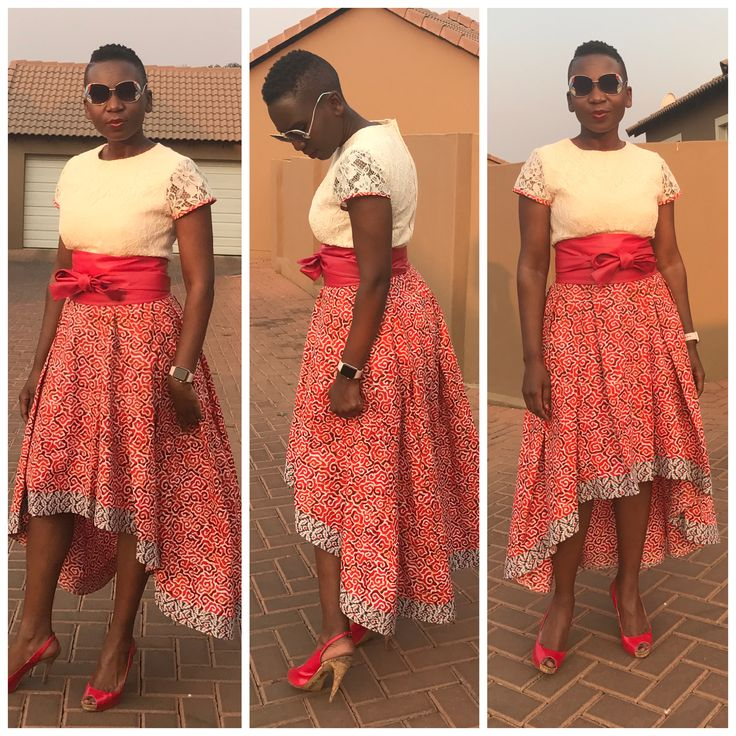 High low African print and lace