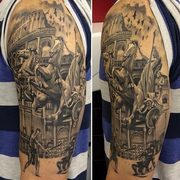 Upper Arm Roman Gladiator Tattoos For Men